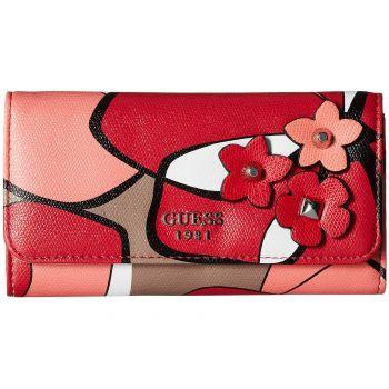Geanta plic / clutch de dama Guess Liya Slg rosu cu motive florale